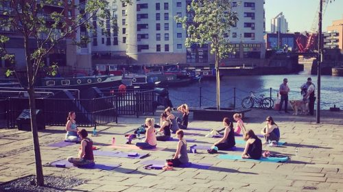 Seated yoga Outdoor Yoga Leeds Dock