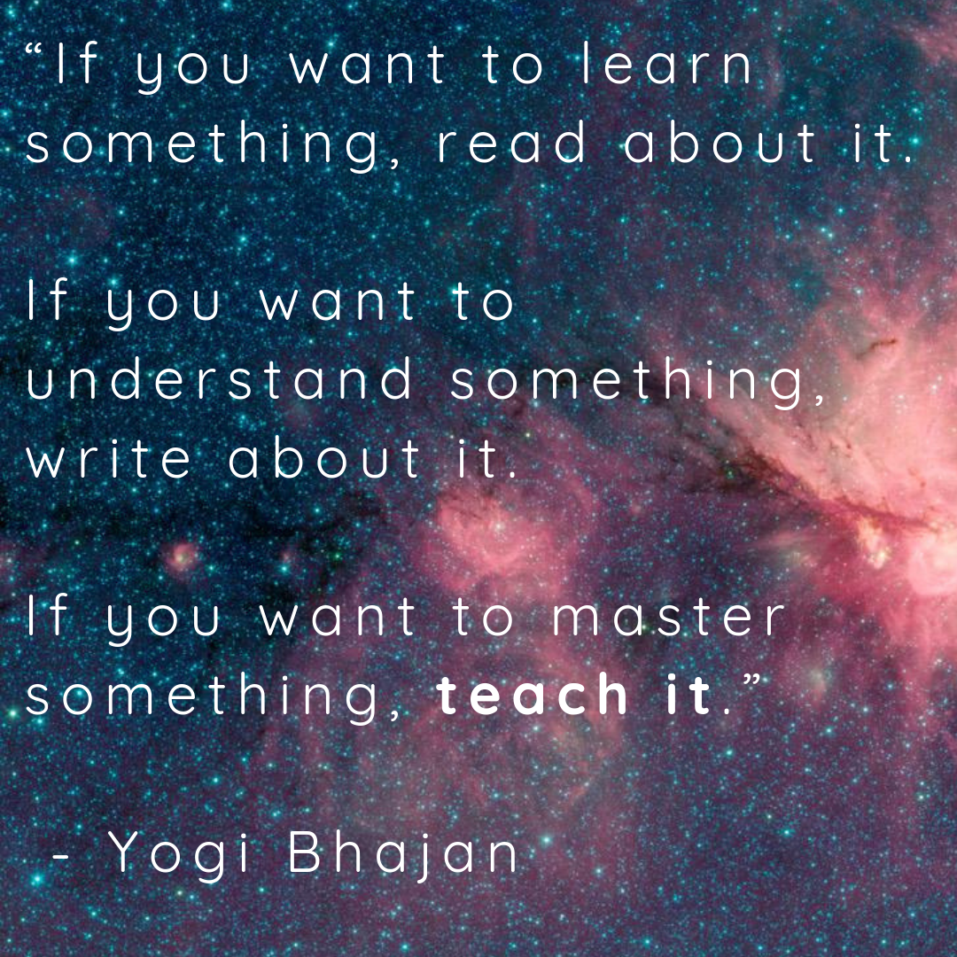 If you want to learn something...